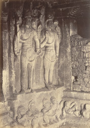 Sculptured figures in east corner of interior of Brahmanical Cave Temple, Aihole, Bijapur District